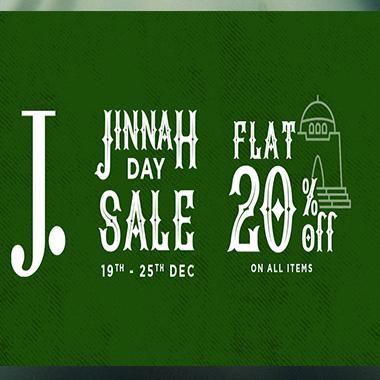 J. Junaid Jamshed Jinnah Day Sale 2019! Flat 20% off on all items