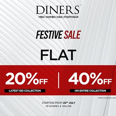 Diners Festive Sale! Flat 20% off & flat 40% off